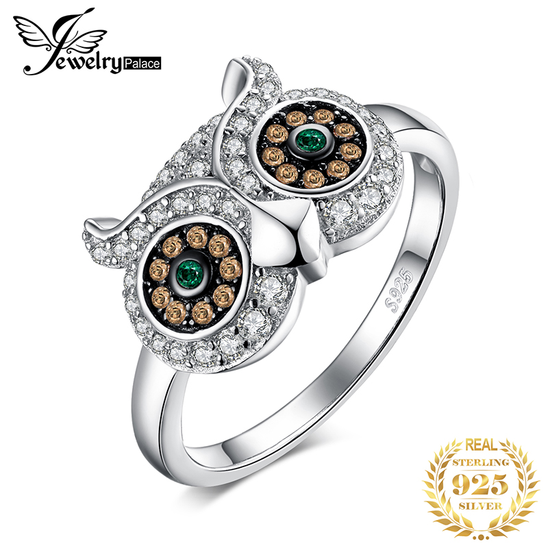 JewelryPalace Owl Simulated Nano Emerald Rings 925 Sterling Silver Rings For Women Silver 925 Jewelry Gemstones Fine Jewelry