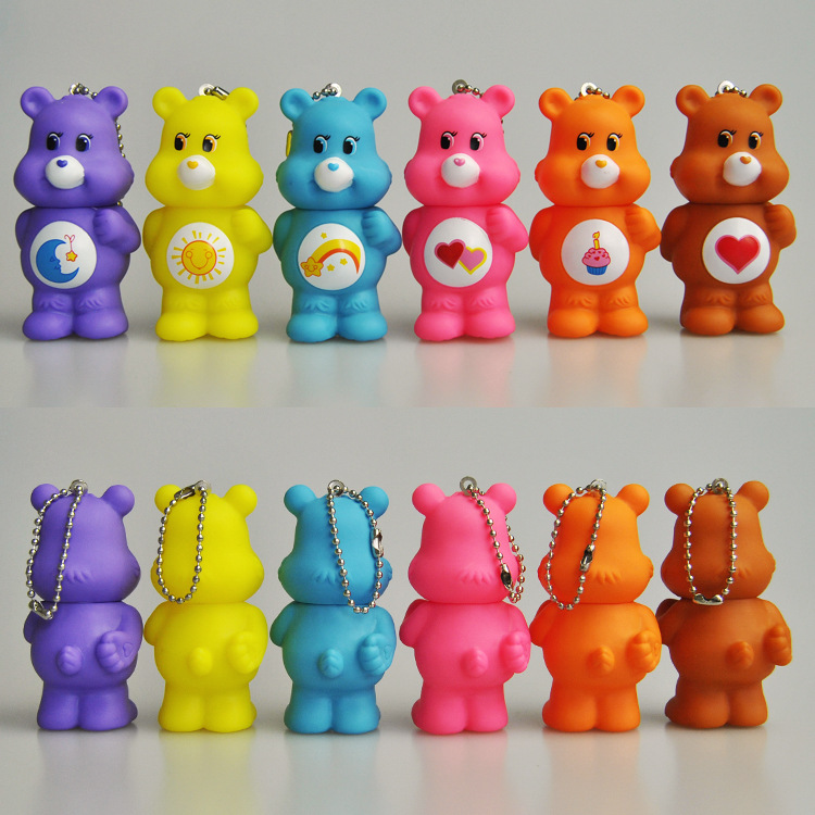 2019 New ABS Care Bears Key Chain Gift Rainbow Bear Doll Key Ring Clothes And Bag Hanging Decorations Fashion Accessories Gifts