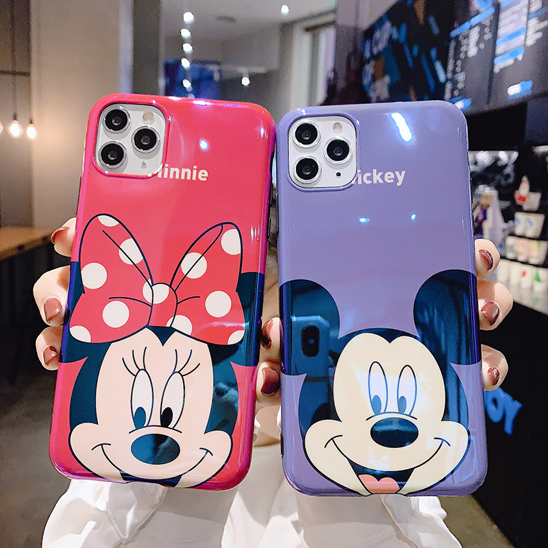 Funny Minnie <font><b>Mickey</b></font> Couple Blu-ray Mirror Case for <font><b>coque</b></font> iPhone11 11pro X XR 7 8 Plus <font><b>6s</b></font> 6plus Silicone XS MAX Cover Accessories image