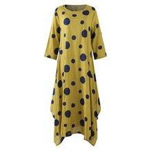 2019 Vintage Dress Women Autumn Plus Size 5XL Elegant Casual Loose Dot Print O-Neck Flare Long Sleeve Clothes New