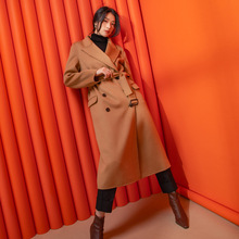 Shuchan 50% Cashmere+50% Wool Designer Women Coat 2019 Winter High Quality Long Double Breasted Adjustable Waist