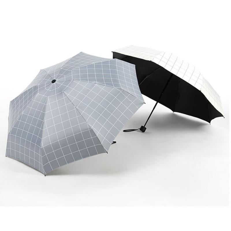 Five Sections 8 Bone Bag Literature And Art Printed Square Plaid Sun resistant Students Rain Or Shine Dual Purpose Umbrella Fact - title=