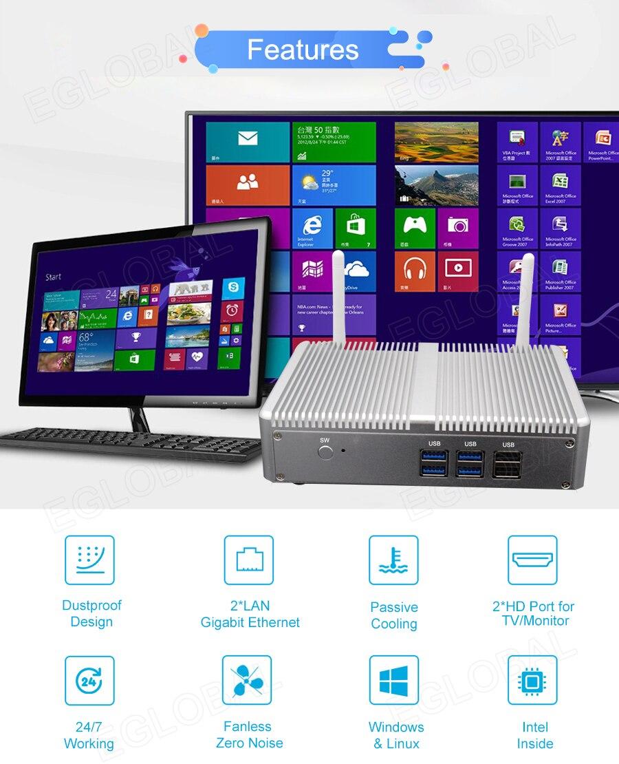 Eglobal Cheap Pfsense Fanless Mini Pc Intel Celeron N3150 2*HDMI Display 2*RJ45 Lan Quad Core Mini Computer 2 * Kensington Lock