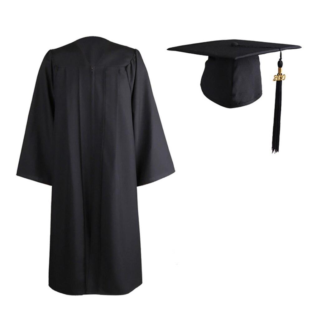 Adult  Graduation Gown Long Sleeve University Academic DresS Zip Closure Plus Size Graduation Gown Robe Mortarboard Cap