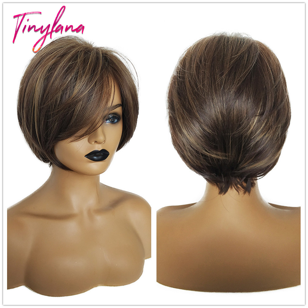 TINY LANA   Mix Blonde Short Female Haircut Puffy Straight Pelucas Pelo Natural Short Synthetic Hair Wigs For Short Bob Wigs Hig