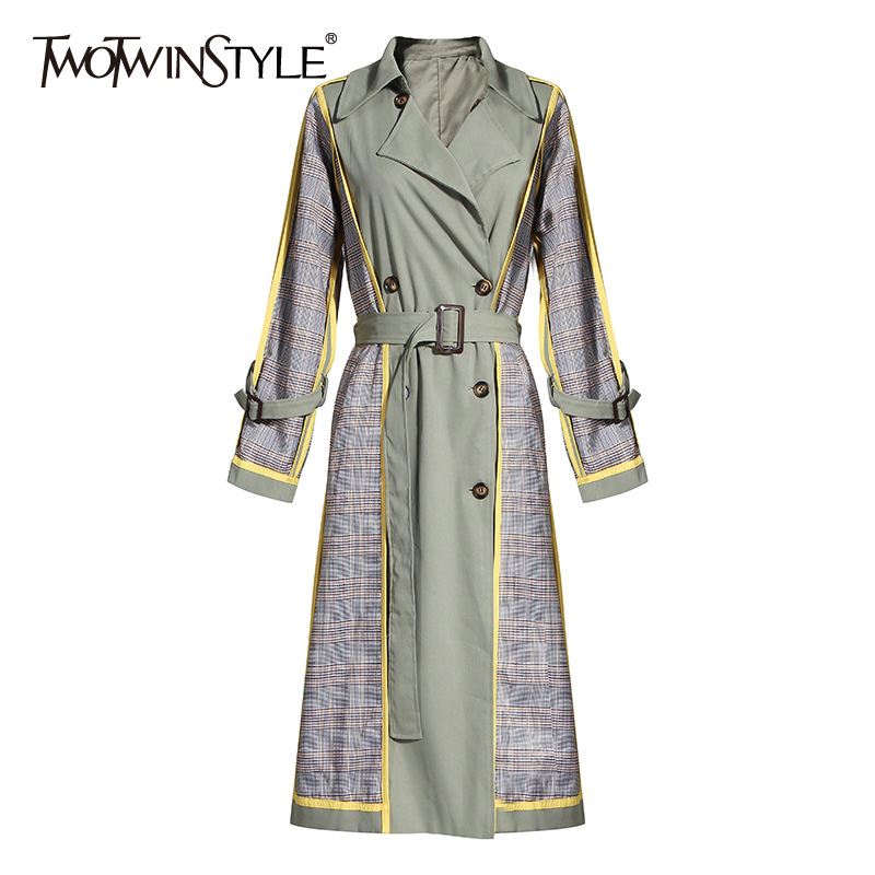 TWOTWINSTYLE Hit Color Patchwork Plaid Windbreakers Women Lapel Collar Long Sleeve High Waist With Sashes Trench Coat Female New