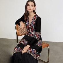 Jastie Retro Floral Embroidered Maxi Dress V-Neck Long Sleeve Spring Autumn Women Clothing 2021 Boho Dresses Female Vestidos