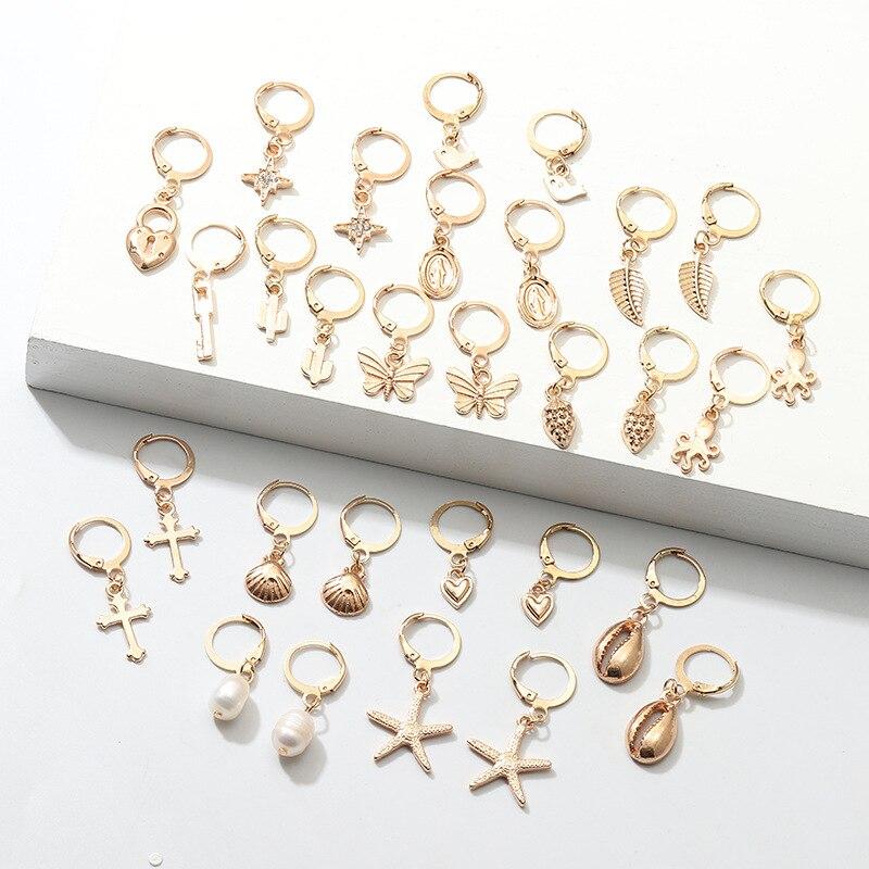 Women Cross Pearl Earrings Fashionable Crucifix Golden Alloy Heart Lock Key Starfish Shell Butterfly Drop Jewelry For Girls