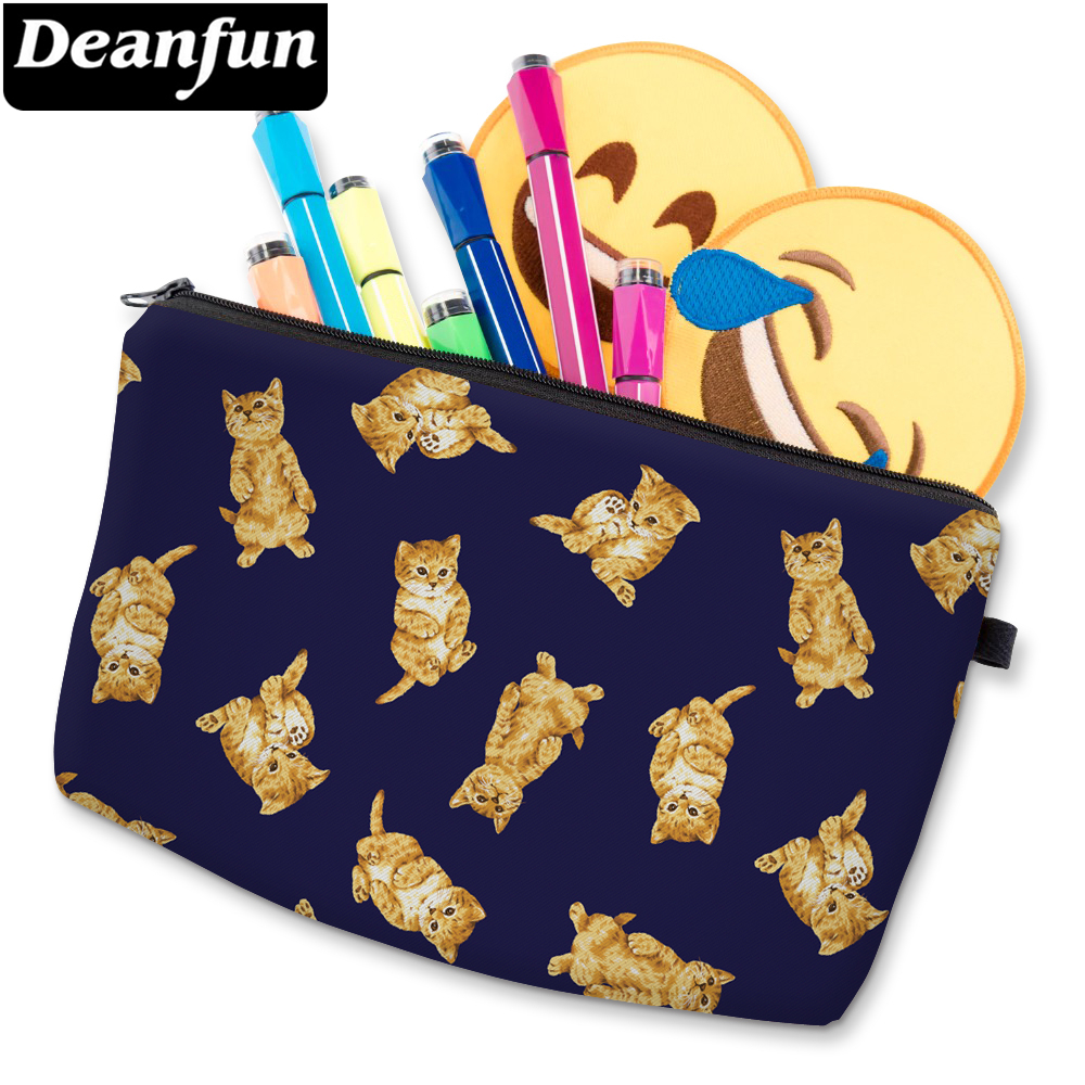 Deanfun 3D Printed Yellow Cute Cat Small Cosmetic Bag Soft Durable Waterproof Makeup Bag For Women Custom D51464