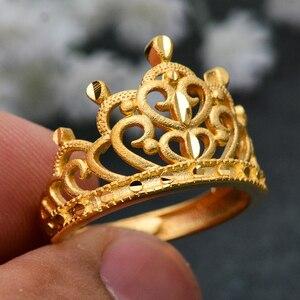 Wando luksusowe złoty kolor peeling obrączki dla kobiet król królowa korony pierścień Vintage duże panie pierścienie Wedding Party