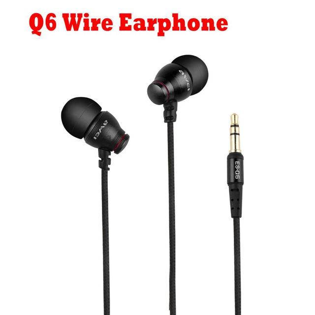 Awei ES Q6 Wire In Ear Earphone 3.5mm Jack Headphones Super Bass Headset With Microphone Earphones Headphone Auriculares Kulaklk