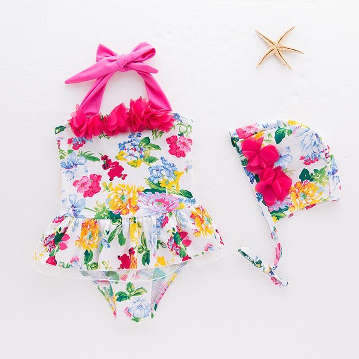 CHILDREN'S Swimwear Korean-style Girls One-piece Floral Swimsuit With Swim Cap