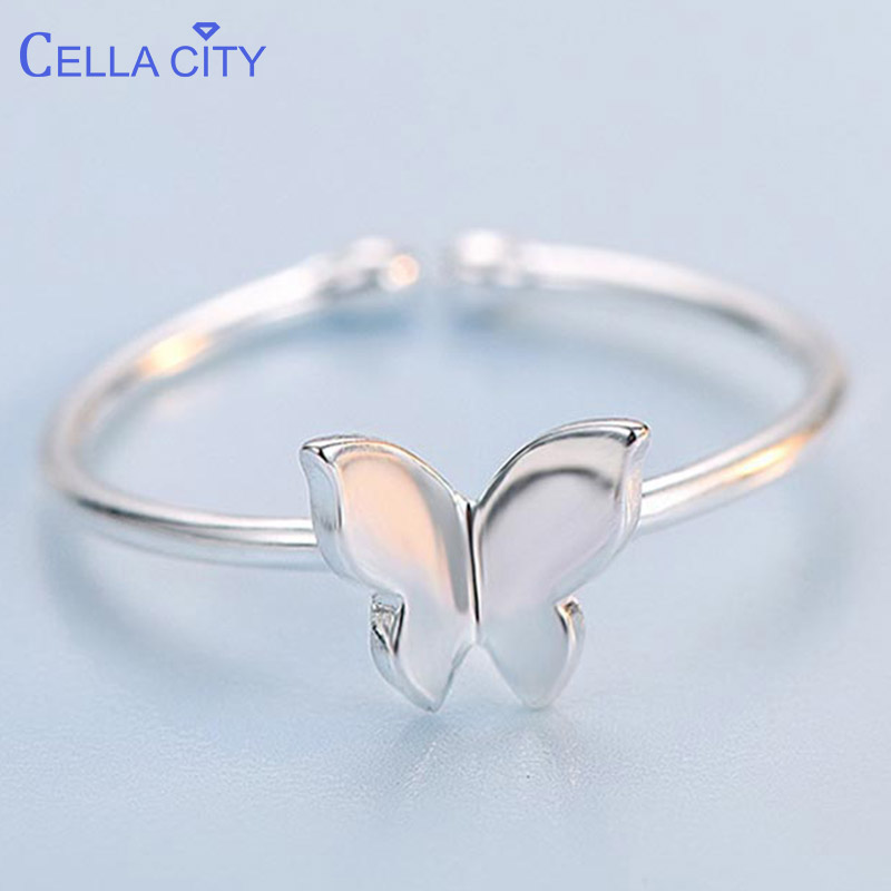 Cellacity Korean 925 Solid Sterling Silver Ring Open Adjust Size Silver Jewelry Wedding Engagement Butterfly Ring Fine Jewelry