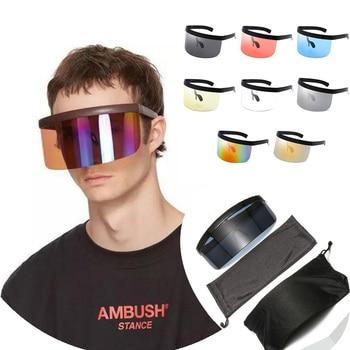 Protetor de moda ciclismo óculos anti-uv óculos de sol meia face escudo oversized viseira envoltório grande espelho óculos de proteção de sol 1