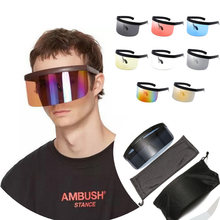Protetor de moda ciclismo óculos anti-uv óculos de sol meia face escudo oversized viseira envoltório grande espelho óculos de proteção de sol
