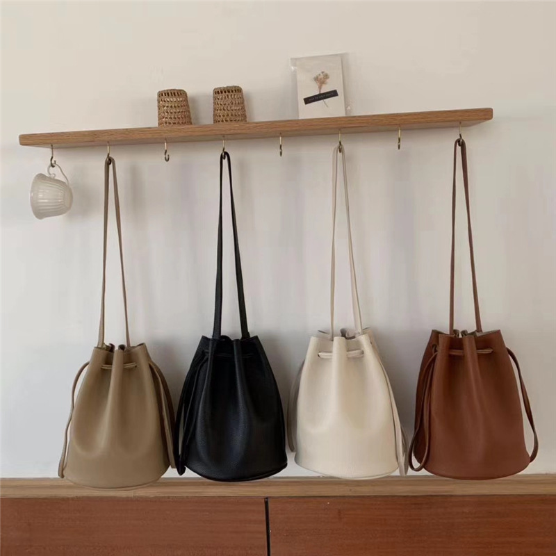 Vintage Bucket Bags Women Solid Color Shoulder Bag Casual Drawstring Messenger Bags Totes Ladies Luxury Pu Leather Crossbody Bag