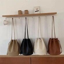 купить Vintage Bucket Bags Women Solid Color Shoulder Bag Casual Drawstring Messenger Bags Totes Ladies Luxury Pu Leather Crossbody Bag по цене 1027.77 рублей
