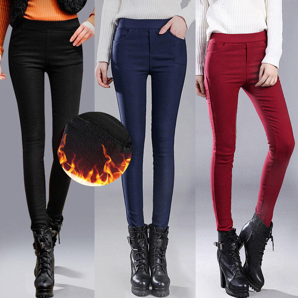 Trousers Women Office Lady Slim Elegant Winter Warm Pencil Pants High Waist Stretch Thickening Leggings Jeggings Plus Size New