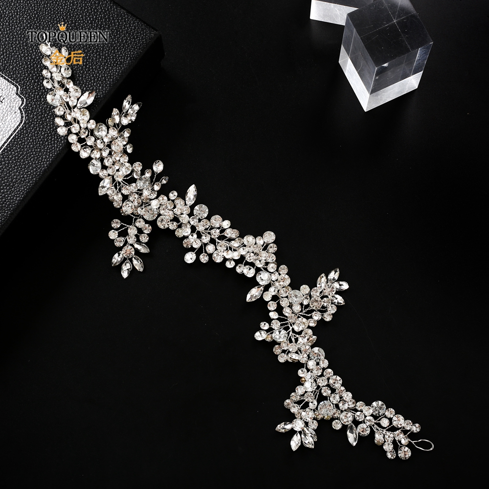 TOPQUEEN HP259 wedding hairpiece crystal headband woman hairband tiaras and crowns for women rhinestone hair vine wedding tiara-in Bridal Headwear from Weddings & Events