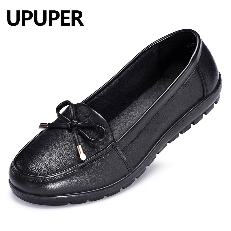 Genuine Leather Women's Loafers Shoes Slip-on Comfortable Flats Mom Ladies Shoes Woman Spring Women Shoes Plus Size 34-43