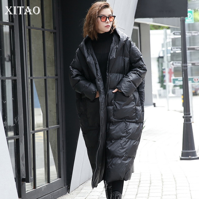 XITAO 2019 Winter Korea Fashion New Women Full Sleeve Casual Stand Collar Solid Color Patchwork Pullover Thick Parkas LJT4362
