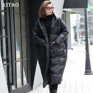 Image 1 - XITAO 2019 冬韓国ファッション新しい女性のフルスリーブカジュアルスタンド襟ソリッドカラーのパッチワークプルオーバー厚手パーカー LJT4362