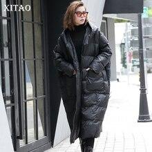 Xitao Mùa Đông 2019 Thời Trang Hàn Quốc Nữ Mới Full Thun Cổ Áo Đứng Đồng Màu Miếng Dán Cường Lực Chui Đầu Dày Parkas LJT4362