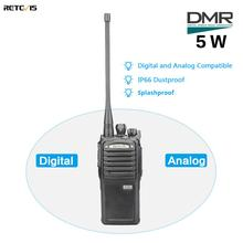 5 w retevis rt54 dmr digital/rádio analógico em dois sentidos transceptor portátil uhf dustproof impermeável vox tot walkie talkie digital