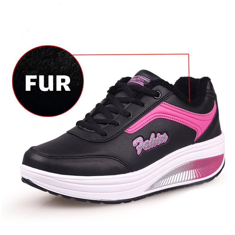 New Brand Women Vulcanize Shoes Wedges Shoes Women Winter Shoes Warm Fur Women Shoes Plus Size Women Sneakers Zapatillas Mujer