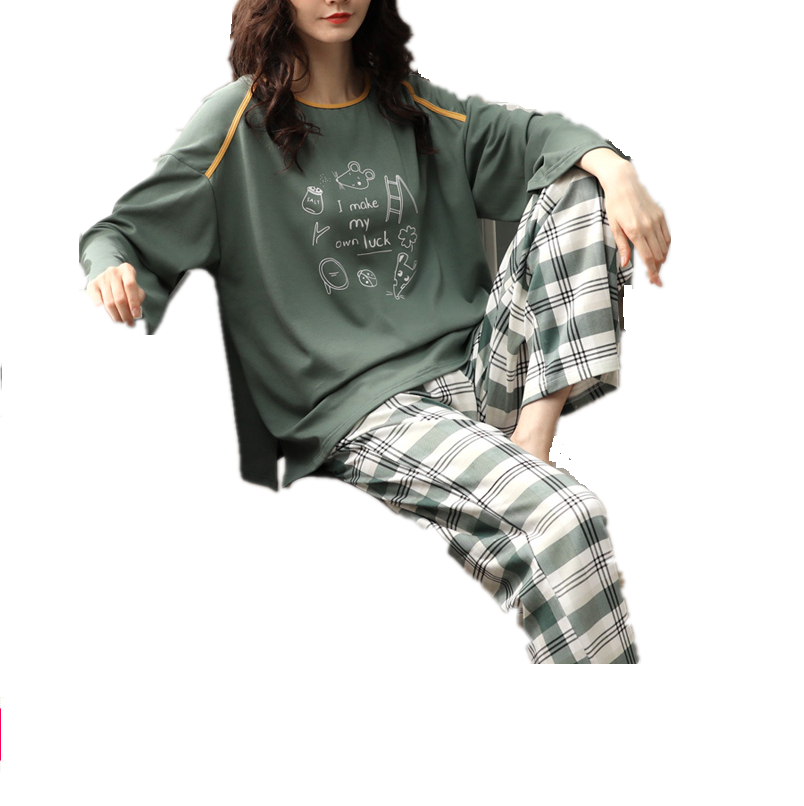 Women Home Wear Lounge Clothes Long Sleeve Pajamas Sets Plaid Cotton Sleepwear Girls Homewear Housewear