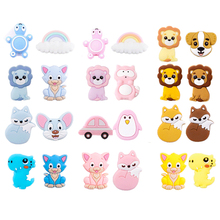 5pc Silicone Bead Teething Cartoon Animals Beads DIY Pacifier Clip Chewable Mix ColorFor Food Grade Silicone Baby Safe Teet teet kallas niguliste