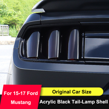 QHCP Acrylic Car Rear Tail Light Lamp Cover Protector Sticker Smoked Black 6Pcs Auto Accessories For Ford Mustang 2015 2016 2017