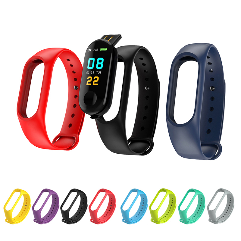New Watch Colorful Smart Bracelet Accessories Replacement Strap Silicone Bracelet For M3/M4 Bracelet Solid Color