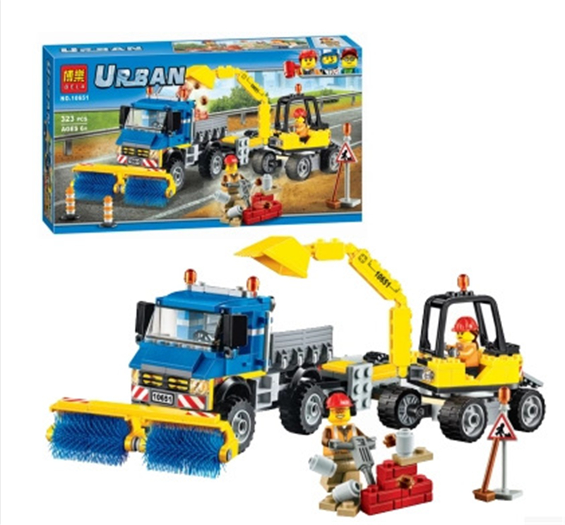 323Pcs Compatible With Lepining City Figures Sweeper Excavator Model Building Kits Blocks Bricks Toys For Children Blocks     - title=