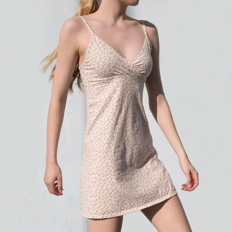 Женский из смеси хлопка, приталенное платье с v образным вырезом, мини платье на бретельках, сарафан|Платья|   | АлиЭкспресс