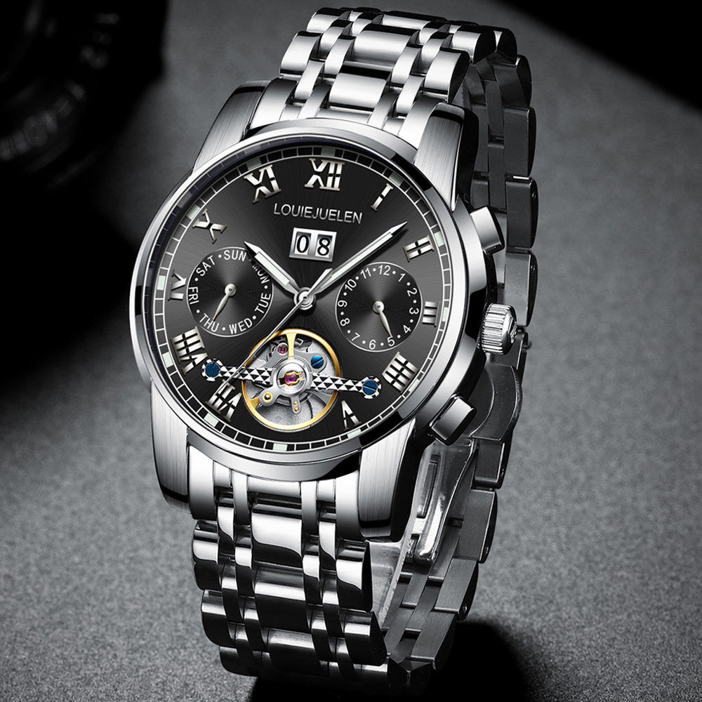 BELUSHI Men Automatic Watches Luxury Business Mechanical Tourbillon Watch Men Luminous Waterproof Wristwatch Relogio Masculino