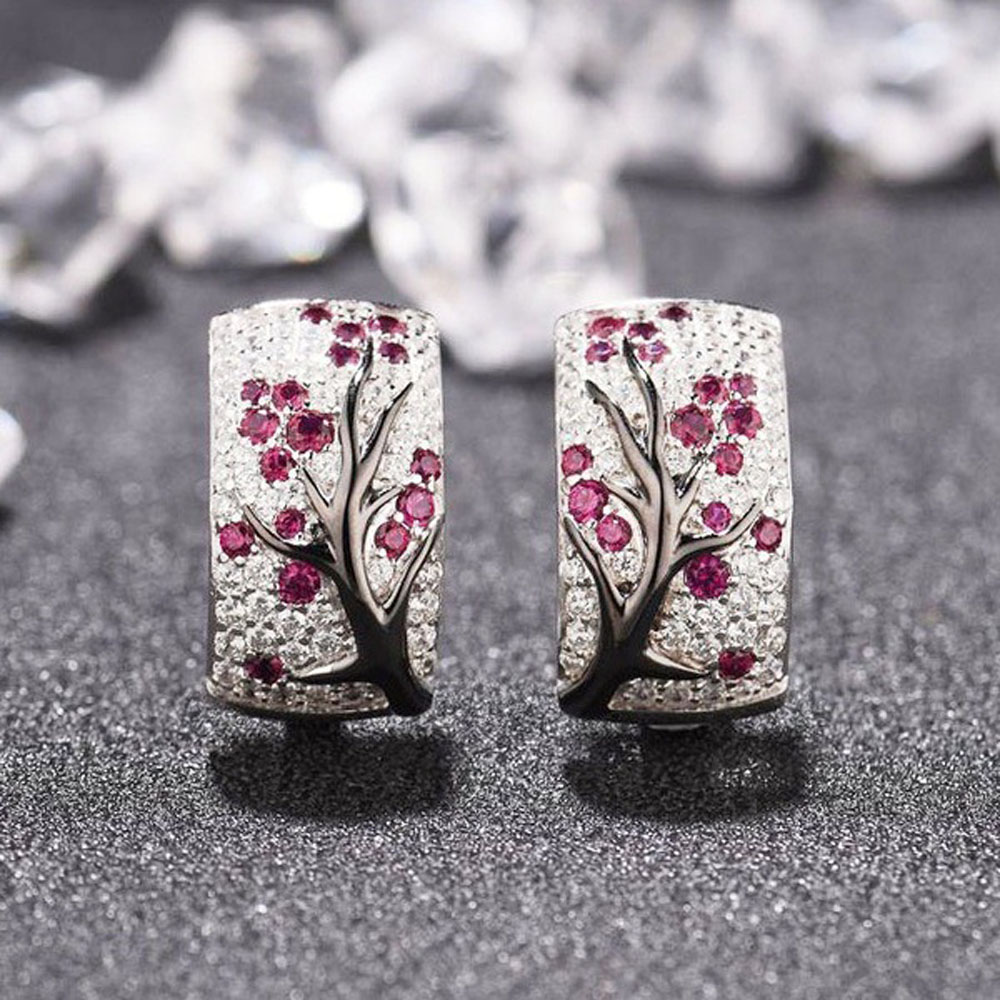 1 Pair Shiny Crystal Rhinestone Stud Earrings Women Fine Ear Jewelry Gifts Fashion Elegant Flower Pattern Ear Stud Earrings