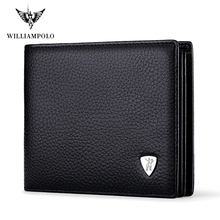 Neue Ankunft WILLIAMPOLO 100% Leder Original Marke Casual Kleine Brieftasche Männer Kaufen One Get One Lose Fahr Lisence Halter PL213
