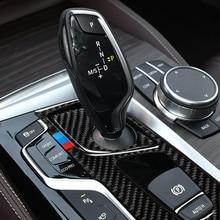Automobili Interni In Fibra di Carbonio Pannello di Marcia Decalcomanie Gear Shift Pannello Adesivi Per Auto per BMW 5 Serie 2018 G38 528i 530i 540i