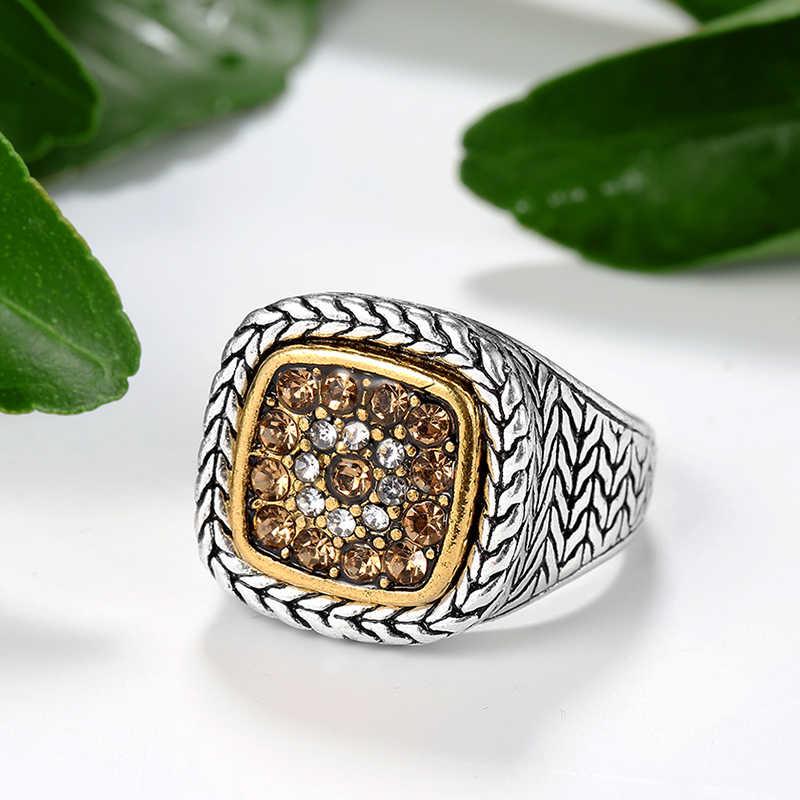 Wbmqda 2019 Горячая Мода обручальные кольца для женщин 925 серебро большие кристаллы мужское кольцо в стиле панк; бижутерия Прямая поставка