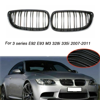 Car Carbon Fiber Double Slat Front Kidney Grille Grill for-BMW 3-series E92 E93 M3 328I 335I 2007-2011 image