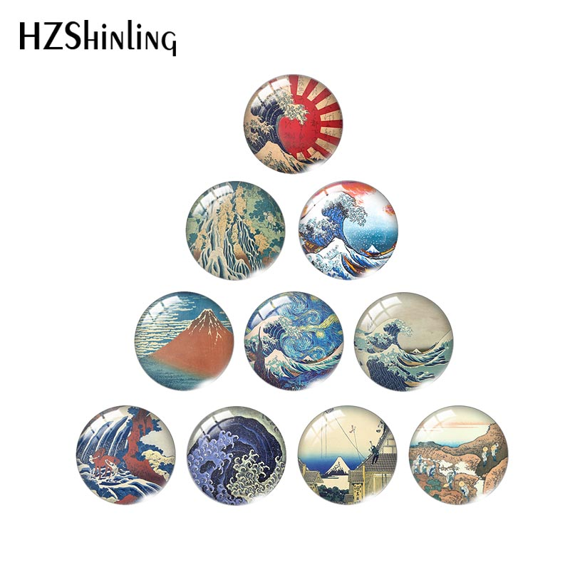 2020 New The Great Wave Off Kanagawa Photo Cabochons Hokusai Paintings Glass Cabochon Round Square Heart Tear Drop Oval Jewelry
