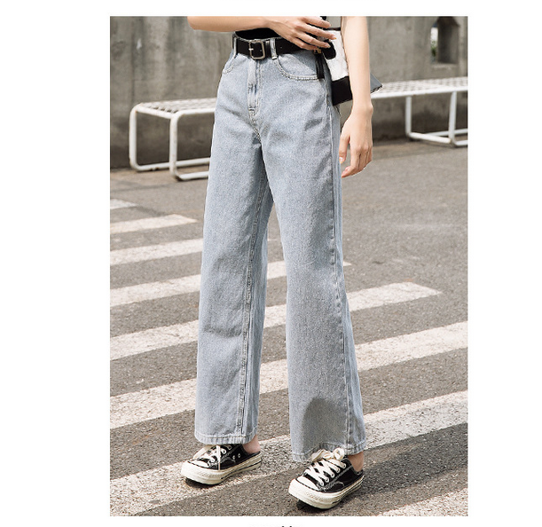 Woman Fall Feeling High Waist Directly Jeans Canister Loose Wide Leg Jagging Summer Pants Female Loose Jeans Denim Trousers