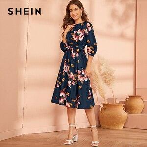 Image 4 - SHEIN Green Abaya Elastic Waist Belted Floral High Waist Dress Women Spring Autumn Bishop Sleeve Flared Elegant Long Dresses