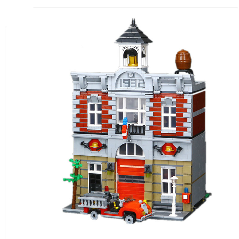 Compatible <font><b>10197</b></font> 15004 2313Pcs Street Fire Brigade Model building blocks bricks toys for children 84004 image