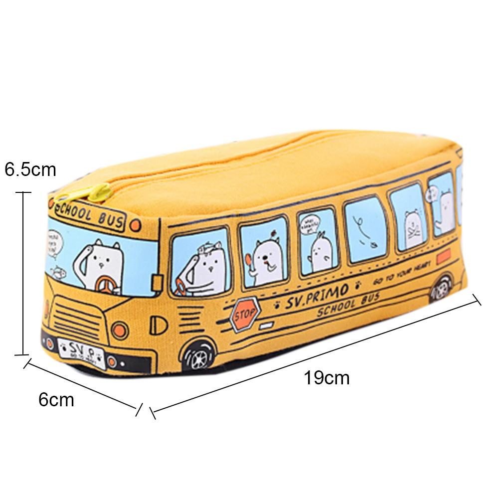 Korean Stationery Pencil Case Simple Animal Pattern Pencil Bag Bus Shaped Pencilcase Office Student Supplies