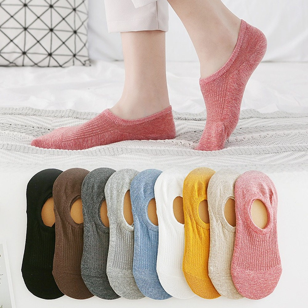 Solid Color Woman Socks Thin Sweat-absorbent Boat Socks Super Shallow Mouth Invisible Socks Silicone Non-slip High Heel Socks