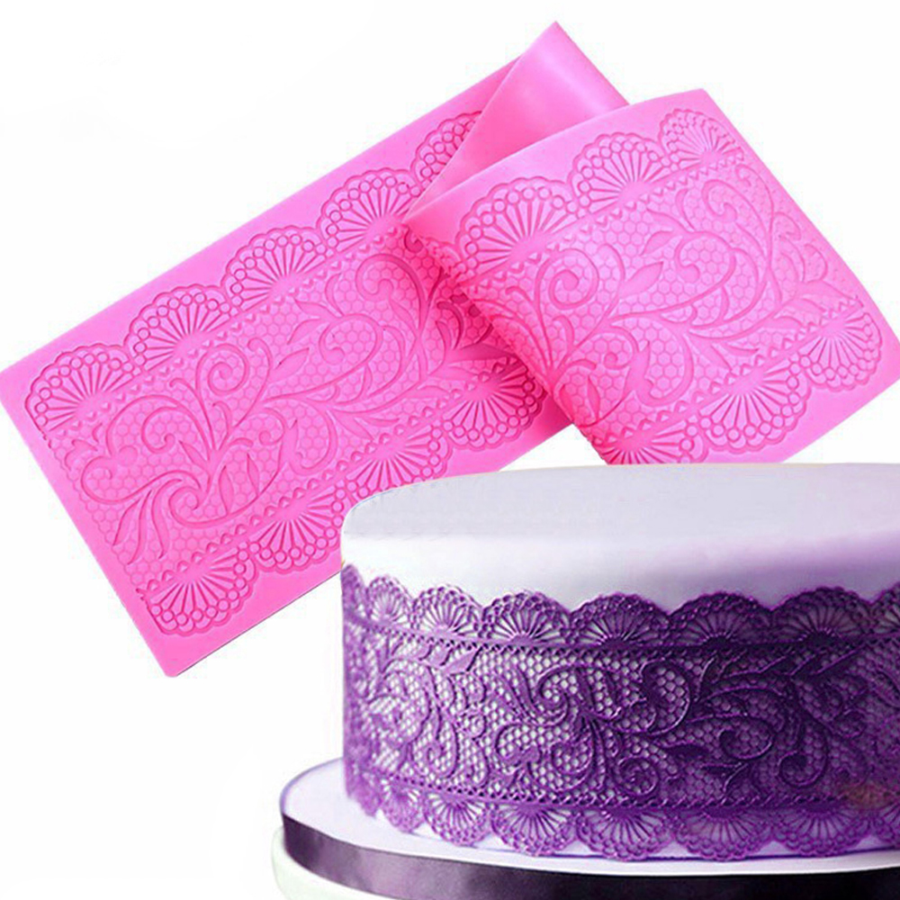 Beautiful Flower Lace Fondant Mold Lace Flower Wedding Cake Silicone Mousse Sugar Craft Icing Mat Pad Pastry Baking Tool