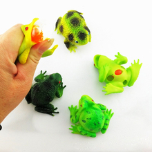 лучшая цена Funny Tricky  Frog Parody Toy  Squeeze Grape Ball Soft Rubber Children Decompression Toy Popping Frog Squeezing Vent Kids Toys E