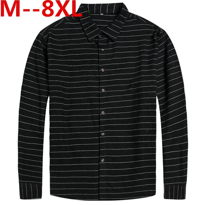 Plus Large Size 10XL 8XL 6XL 5XL 4XL Mens Business Casual Long Sleeved Shirt Classic Striped Male Social Dress Shirts